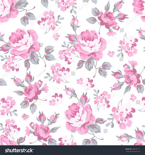 seamless floral pattern pink rose grey stock vector