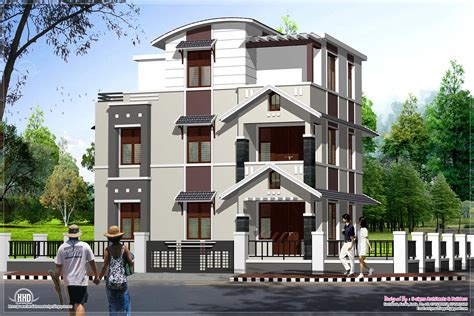 8 Cent Home Design : Below 2000 Sq.feet 3 Storey Villa In 3 Cents