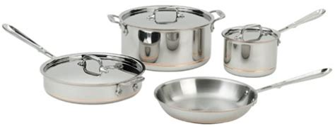 clad   ss copper core  ply bonded dishwasher safe  piece cookware set silver www