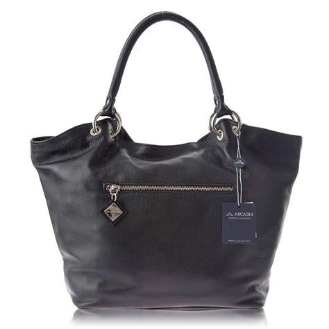 handbag tote bag black arcadia italian designer black leather tote handbag