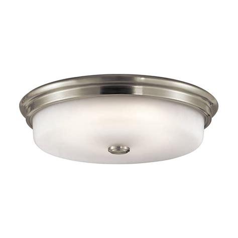 brushed nickel flush mount ceiling light shop kichler lighting 16 in w brushed nickel led ceiling