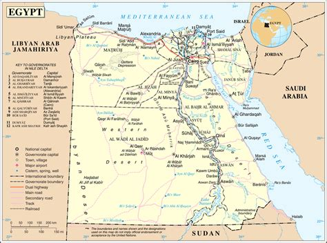 Deatiled Political And Road Map Of Egypt Egypt Deatiled