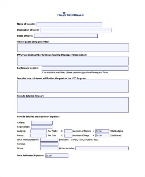 travel forms   excel ms word