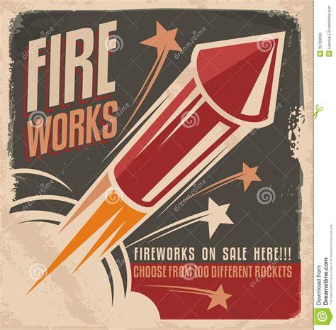 vintage fireworks poster design stock photo image