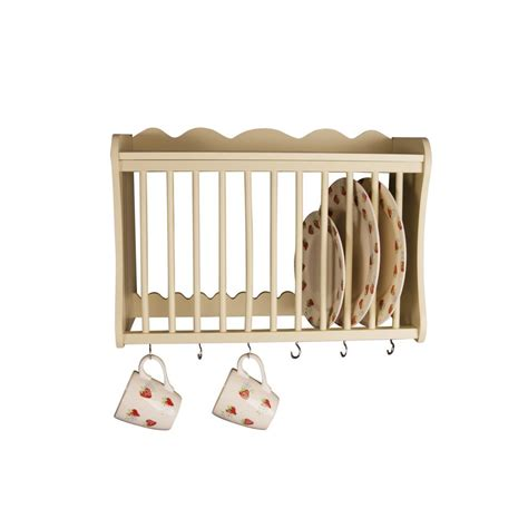 minack buttermilk wooden kitchen plate rack wall mounted shelf hooks  onbuy