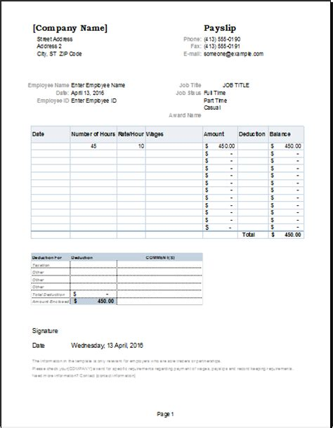 employee payslip template  ms excel excel templates