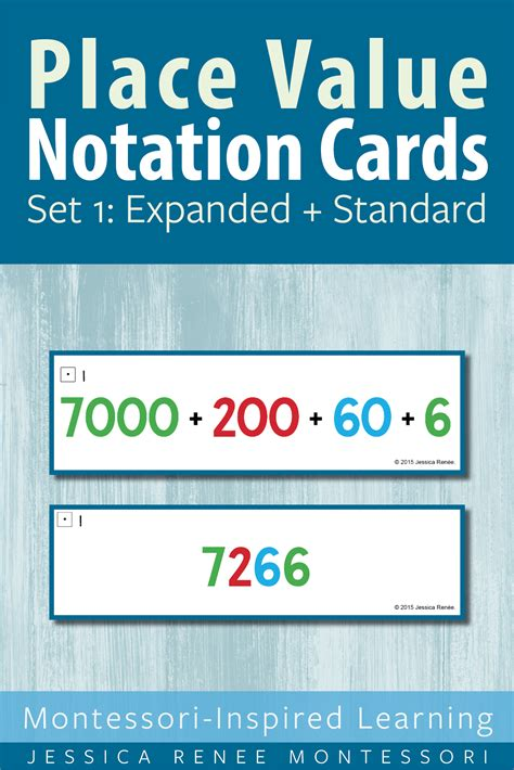 montessori math place  notation cards set  expanded