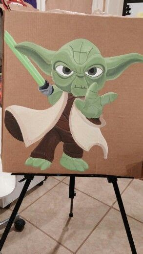 Yoda painted by Robin Bertucci | Star wars painting ...