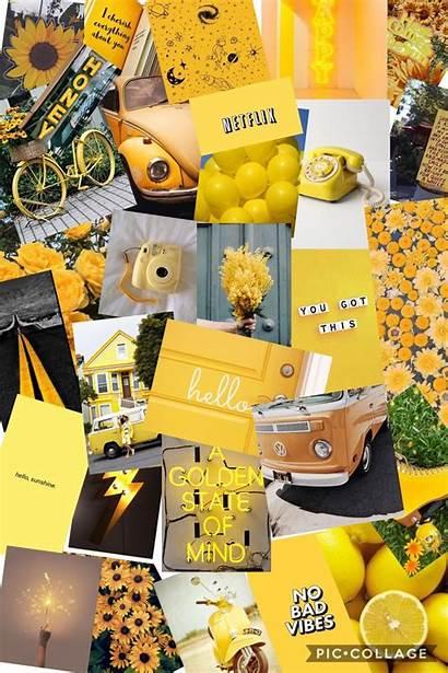 Collage Aesthetic Yellow Wallpapers Desktop Vsco College