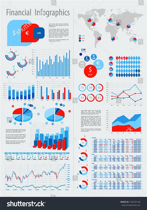 financial infographic set charts  elements stock