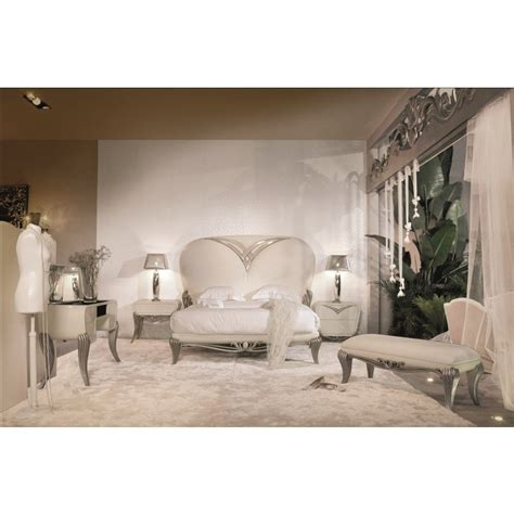 spacium cream gloss king size bed with cream velvet headboard