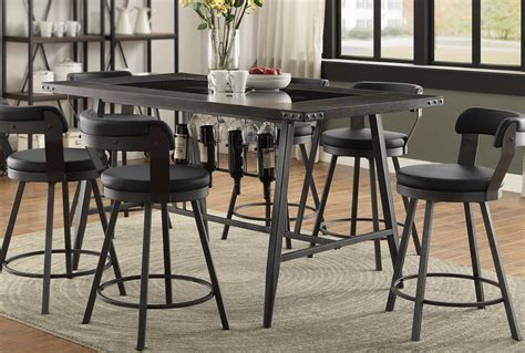 rc willey dining table metal and glass 5 piece counter height dining set appert