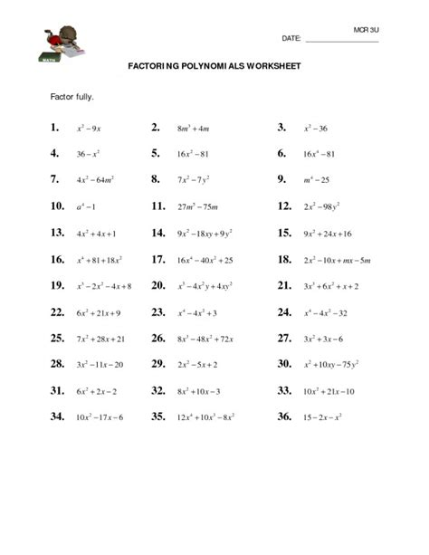 factoring polynomials worksheet homeschooldressagecom