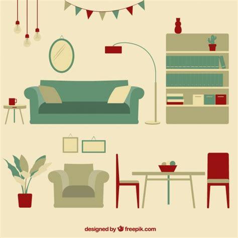 livingroom furnitures vintage living room furniture vector premium
