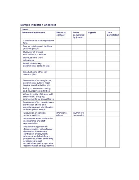 sample induction checklist