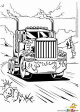 Coloring Truck Semi Boys sketch template