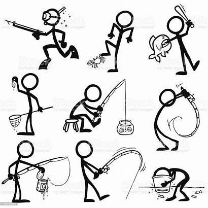 Stick Fishing Figure Figures Vector Illustration Doodle