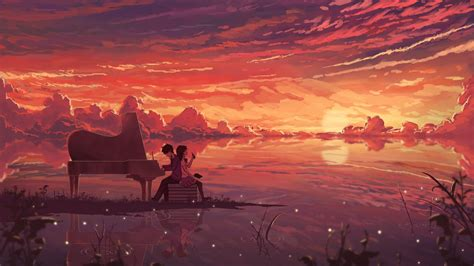 anime couple piano hd wallpaper mthemes