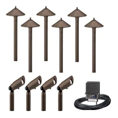 home depot outdoor lighting kits malibu 10 light outdoor aged brass pro style light kit