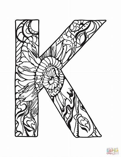 Coloring Zentangle Alphabet Letter Pages Letters Printable