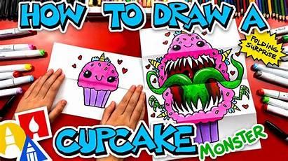 Draw Cupcake Monster Surprise Folding Artforkidshub Hub