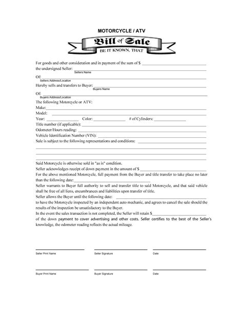 Doc 600553 Template For A Bill Of Sale Printable