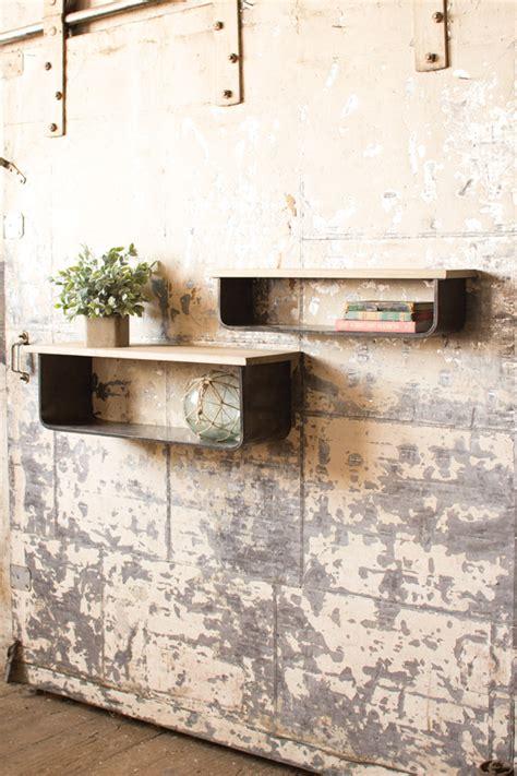 set   wood  metal wall shelves