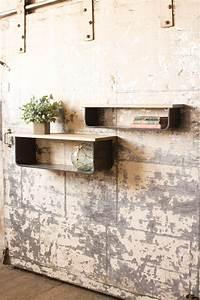 Metal And Woods : set of 2 wood and metal wall shelves ~ Melissatoandfro.com Idées de Décoration