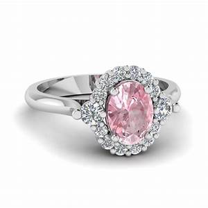cathedral oval morganite halo engagement ring in 14k white With wedding rings pink gold