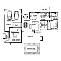3 bedroom 285m2 floor plan only houseplanshq - Simple 2 Bedroom House Plans