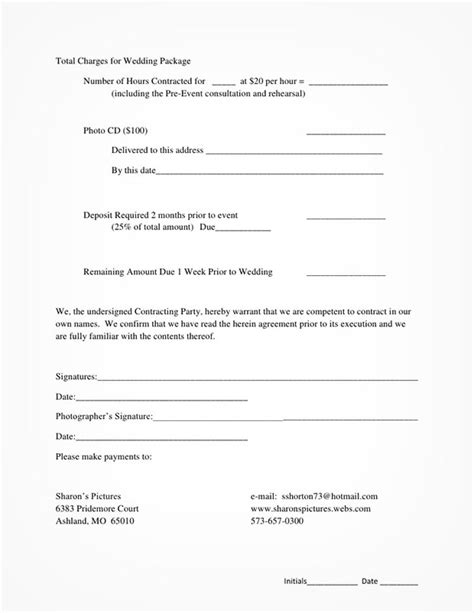 wedding photography contract  guarantee  safety