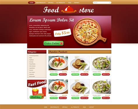 web cuisine free food store template free store templates