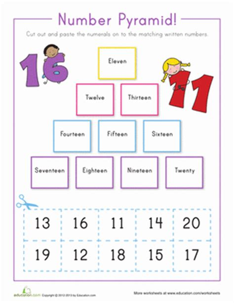 writing numbers 11 20 worksheet education