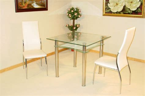 jazo clear and frosted glass table and 2 dining chairs 1635