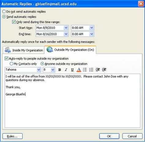 out of office email template setting up out of office messages in outlook 2010