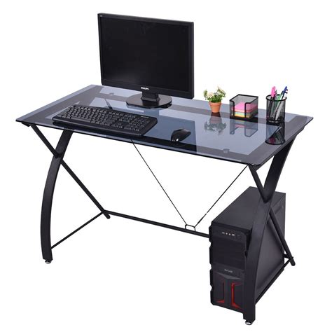 sturdy glass computer desk new tempered glass pc laptop computer work game desk table
