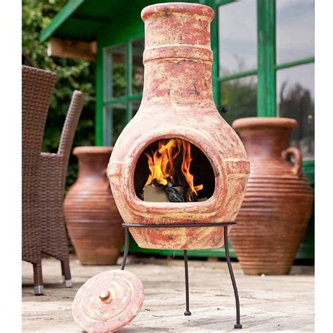 Chiminea On Sale - la hacienda banded clay chiminea large 94cm on sale fast