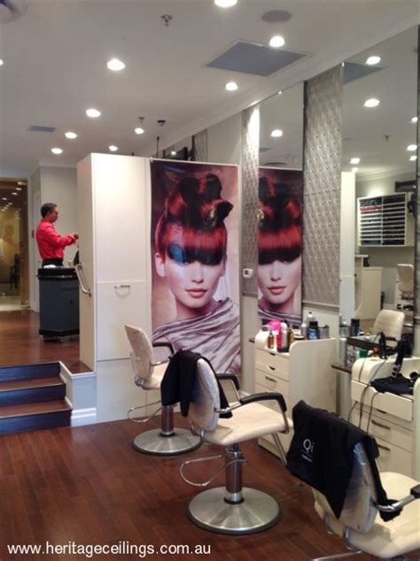 pressed metal panels   hair salon feature wall