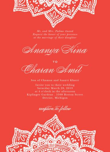 Indian Wedding Invitations Match Your Color & Style Free