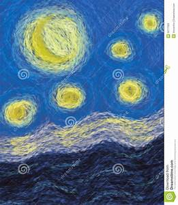 Moon And Stars Impressionism Painting Abstract Stock ...