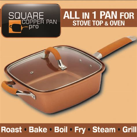 square copper pan pro  piece    tv gifts