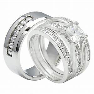 4pcs his and hers titanium 925 sterling silver wedding With his and hers matching wedding ring sets