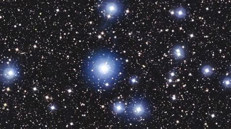 young hot stars  cluster shine brightly   view