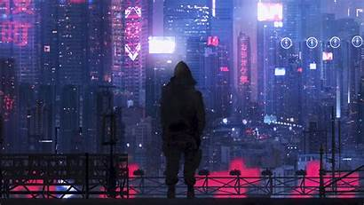 Silhouette Cyberpunk Fi Sci Futurism Background Widescreen