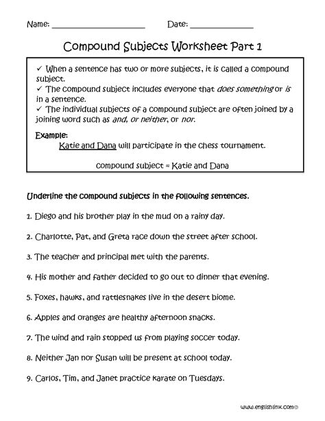 compound subject worksheet part 1 englishlinx board