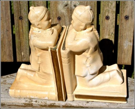 vintage chinese school boys chalkware book ends