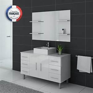 Meuble Vasque Sur Pied : meuble de salle de bain 120 cm 1 vasque ensemble de salle de bain blanc turin distribain ~ Teatrodelosmanantiales.com Idées de Décoration