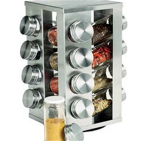 Brushed Stainless Steel Spice Rack by 16 Jar Stainless Steel Revolving Spice Rack Review