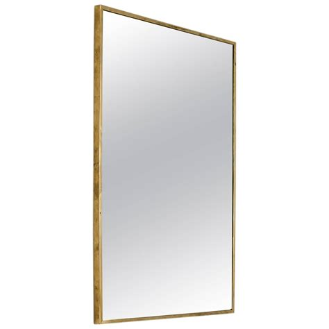 Large Rectangular Brass Wall Mirror, Italy, 1950s For Sale