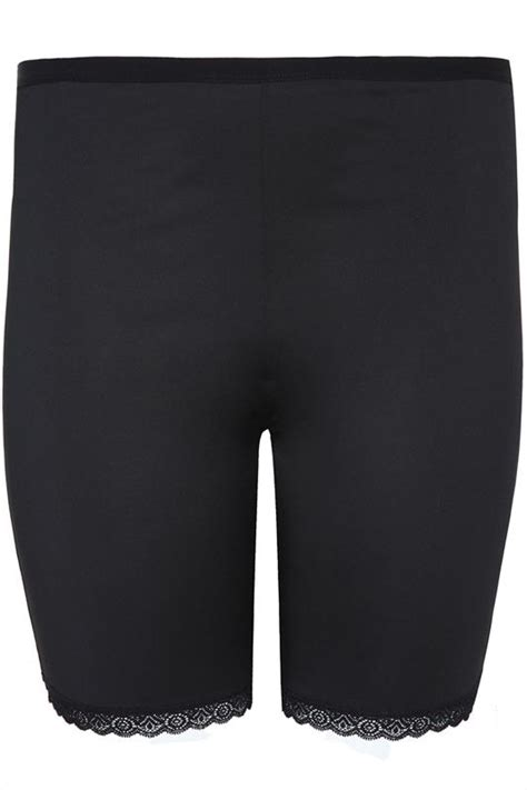 Black Thigh Smoother Brief With Lace Detail Hem Plus